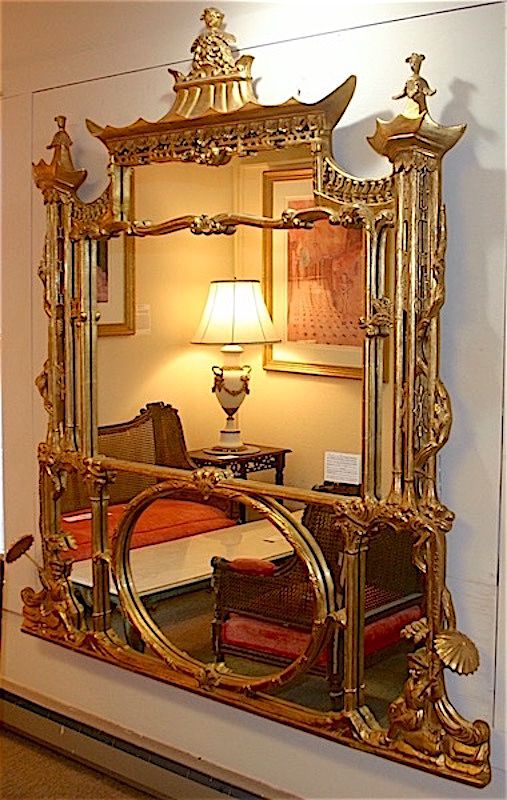 Chinese Chippendale style large gilt wood pier mirror