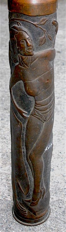 WWI Trench Art embossed shell casing with ladies