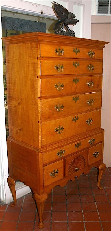 Antique early American Queen Anne maple highboy