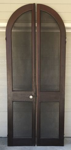 Pair architectural arched antique screen doors, circa 1850