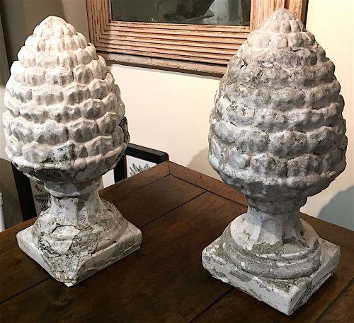 Pair antique pine cone stone garden statuary finials, English