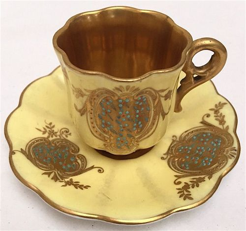 Antique Coalport jeweled porcelain cabinet cup and saucer