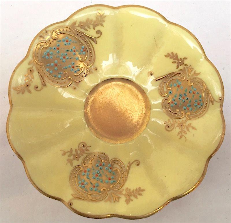 Antique Coalport jeweled porcelain cabinet cup and saucer