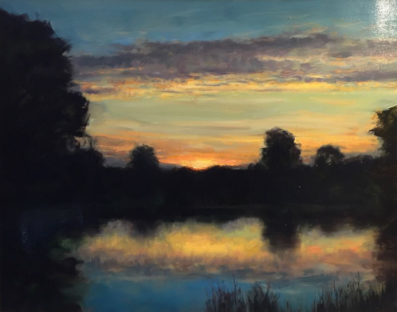 Dennis Sheehan painting - Sunset on a Misty Pond