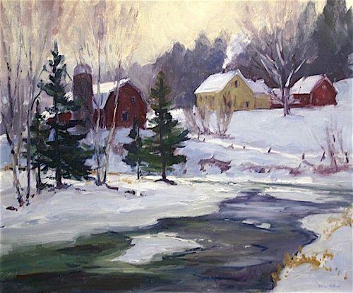 Eric Tobin landscape painting - Vermont Farm on the River