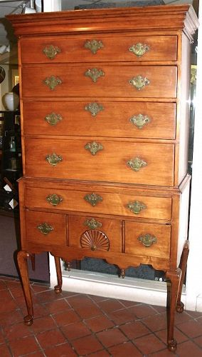 New England Queen Anne period maple highboy