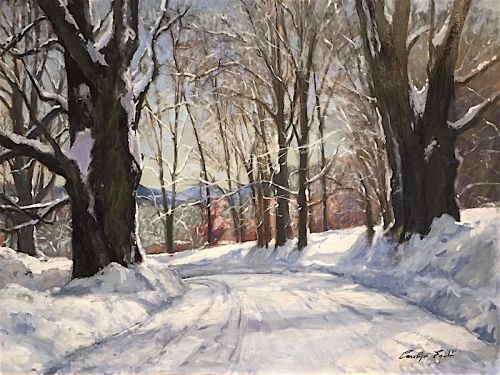 Carolyn Egeli winter painting - Braintree, VT