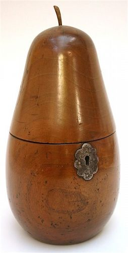 English Georgian pear shaped tea caddy, 18th C.