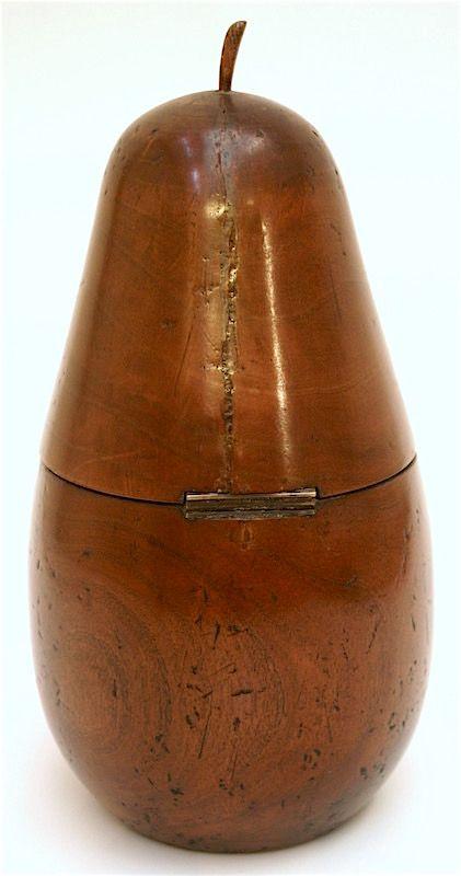 English Georgian pear shaped tea caddy, 18th C.