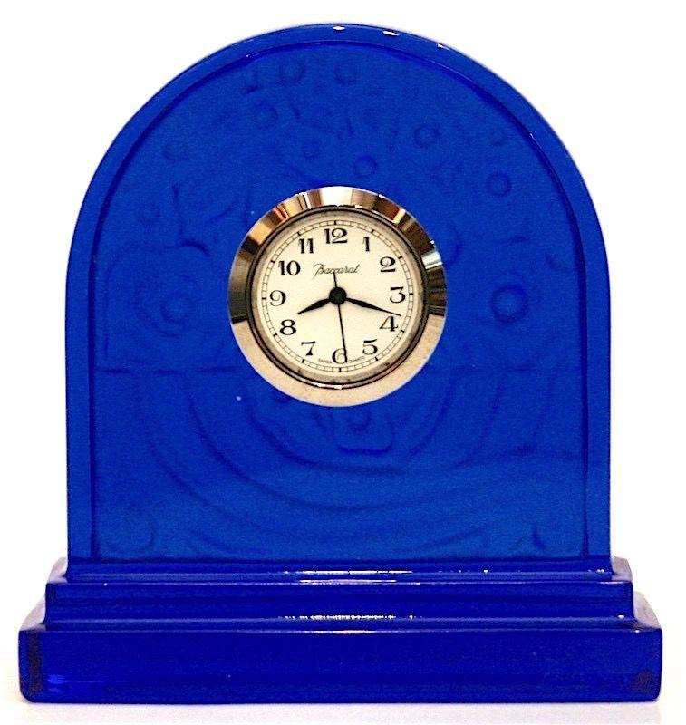 Baccarat Art Deco style sapphire crystal pendulette desk clock