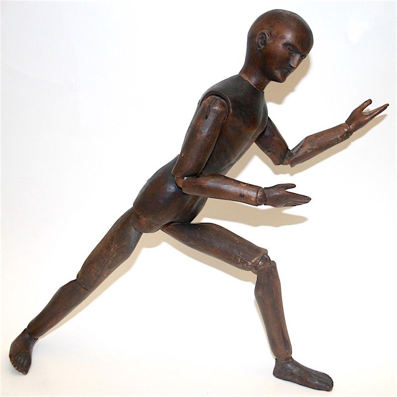 Antique articulated wooden artist's mannequin, France