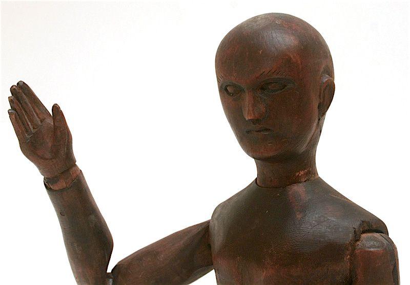 Antique articulated wooden artist's mannequin, France