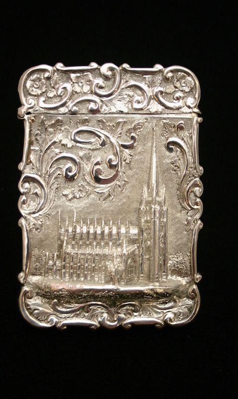 Nathaniel Mills sterling silver card case - Trinity Church, New York