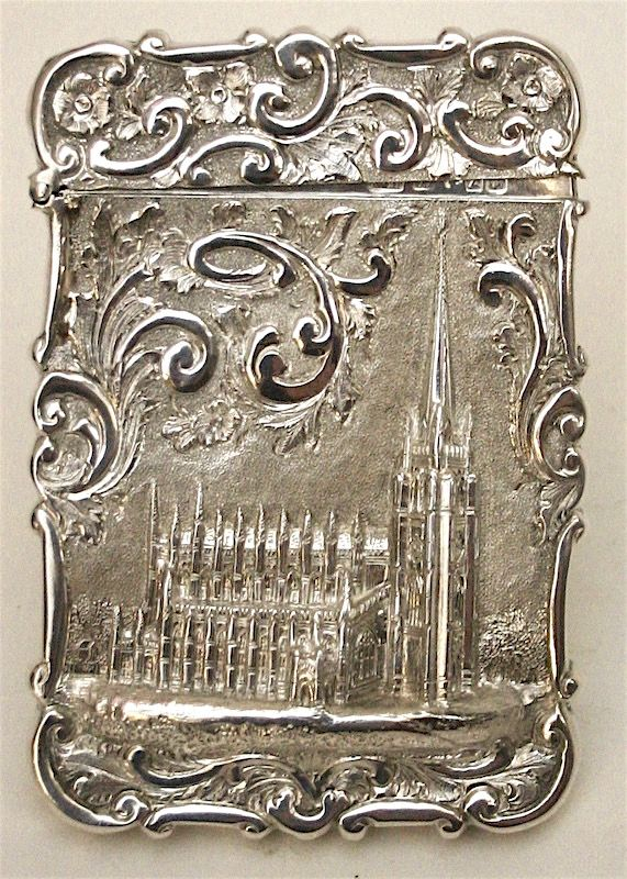 Nathaniel Mills sterling silver card case - Trinity Church, New York