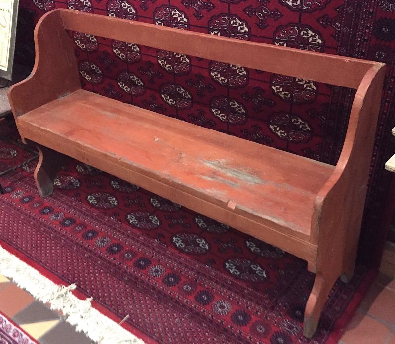 18th Century country bench in salmon paint