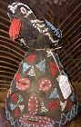African beaded helmet mask with bird effigy - Cameroon
