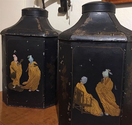 Two Antique English Japanned and inlaid tin tea canisters