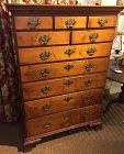 American Chippendale tiger maple tall chest