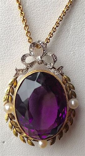 Amethyst Edwardian 14Kt and pearls pendant