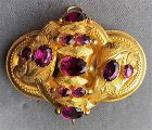 Victorian antique gold and garnet pin brooch