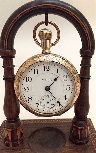 Elgin gold filled pocket watch , railroad scene