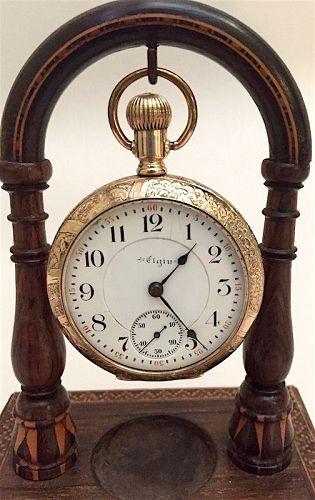 Elgin gold filled pocket watch , railroad scene
