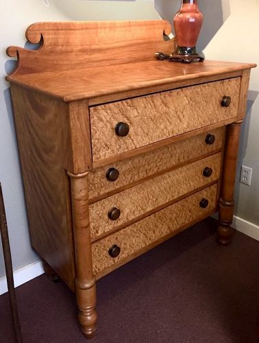 New England antique birds eye maple chest