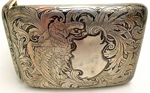 Sterling cigarette case by W. Kerr with eagle