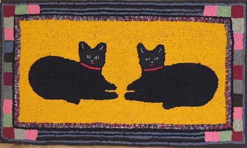 Antique black cats folk art hooked rug