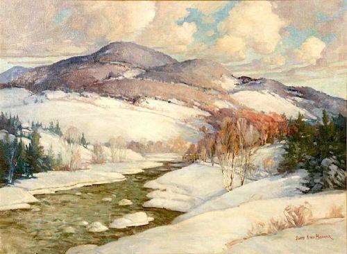 James King Bonnar winter landscape painting
