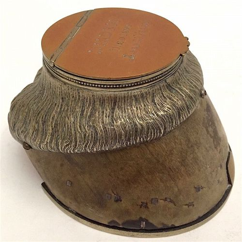 Horse hoof silver plated commemorative inkwell