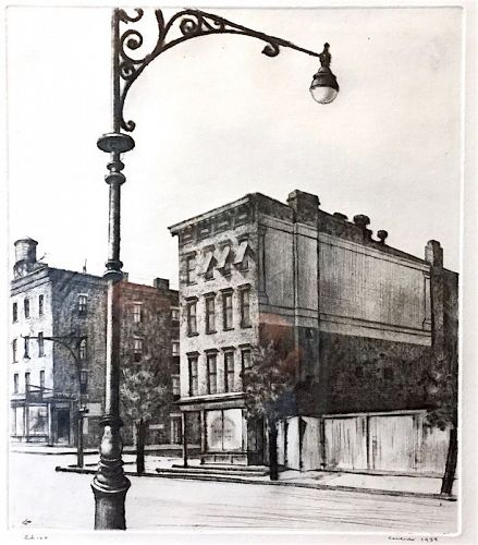 Armin Landeck etching - York Avenue, Tenements