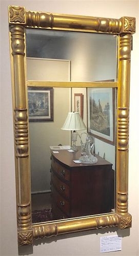 Federal era gilded split column mirror looking glass