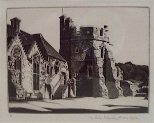 John Taylor Arms original etching Stokesay Castle