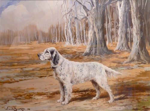 Reuben Ward Binks watercolor of English Setter