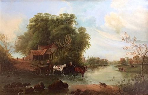 19th century landscape painting of horses fording a river