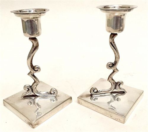 Pair Mexican silver candlesticks by Pedro Lopez G.