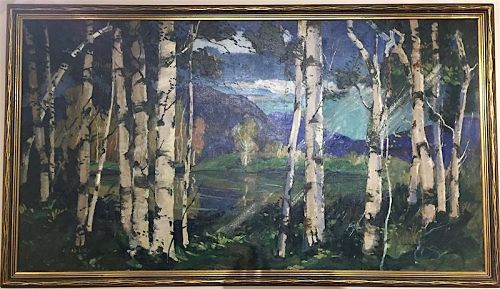 Jonas Lie original oil painting of birch trees