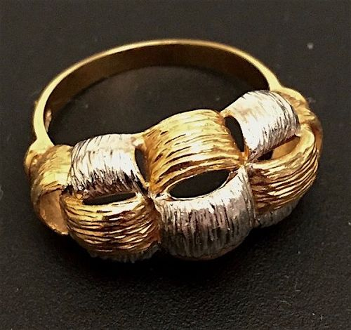 Bicolor 14K gold basket weave ring