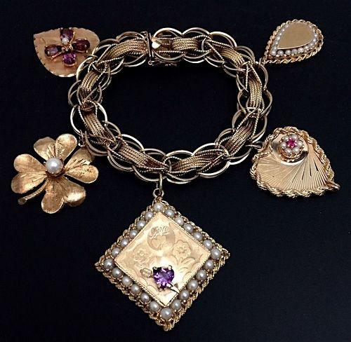 Vintage Love charm bracelet, 14Kt gold
