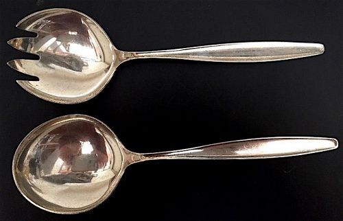 Pair Georg Jensen Denmark sterling Cypress salad servers