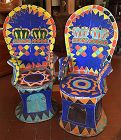 Pair of vintage African beaded throne arm chairs - Yoruba tribe