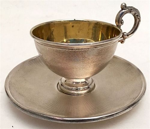 Antique Continental silver tea cup and saucer, German