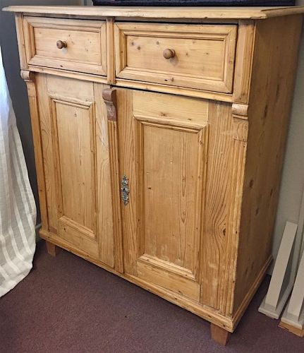 Antique pine double door cupboard