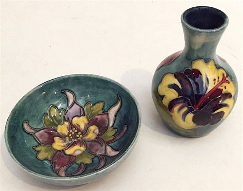 Wm. Moorcroft pottery cabinet hibiscus vase and clematis dish
