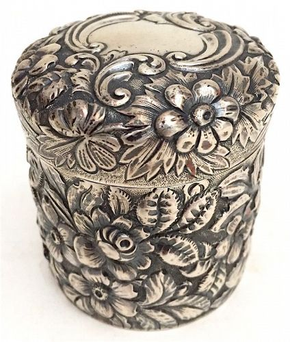Bailey, Banks and Biddle sterling silver repousse dresser vanity jar