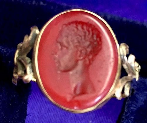 Antique Georgian intaglio cut portrait ring