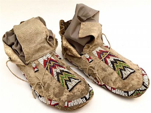 Sioux Native American plains Indian beaded moccasins