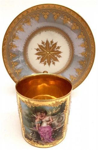 Royal Vienna style German porcelain cabinet cup, goddess and cherub