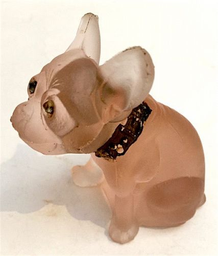 Westmoreland French bulldog molded pink glass figurine